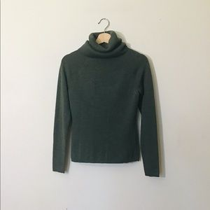 Pine Green ExtraFine Merino Wool High Neck Sweater